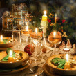 Christmas dinner table with christmas mood — Stock fotografie