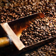 Copper spoon in coffee beans — Stock Photo #19586629