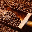 Copper spoon in coffee beans — Stock Photo