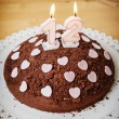 Chocolate Birthday Cake with lit candles  — Stock Photo