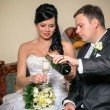 A toast to newlyweds at the wedding   — Stock Photo