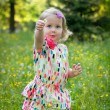 Cute little girl in a meadow full of flowers — Stock Photo