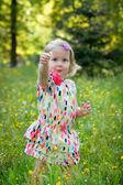 Cute little girl in a meadow full of flowers — Stock Photo