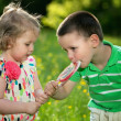 Children and a big lollipop — Stock Photo