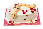 Birthday cake on white background — Stock Photo