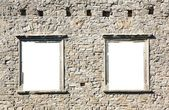 Castle wall with two windows on a white background — Stock Photo
