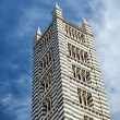 The main cathedral (duomo) in Siena Italy, with high striped tower. — Stock Photo