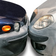 Two cars parked against each other — Stock Photo