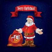 Grunge Julhälsningar med jultomten och gåvor — Stockvektor