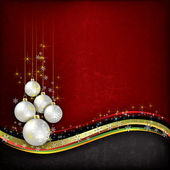 Abstract grunge background with pearl Christmas decorations on r — Stock Vector