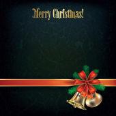Grunge christmas greeting mit glocken und rote schleife — Stockvektor