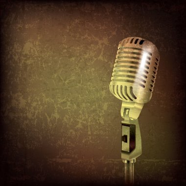 Abstract music background with retro microphone