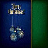 蓝色背景上的圣诞装饰品 — 图库矢量图片