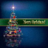 Pozdrav s vánoční stromeček na pozadí grunge — Stock vektor