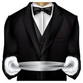 Butler torso dressed in tux — Stock Vector