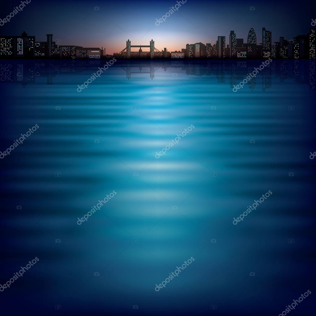 Abstract background with sunset and silhouette of London  Stock Vector #20072275