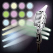 Abstract background with retro microphone on stage — Stock Vector