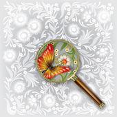 Lupa con mariposas y flores — Vector de stock