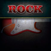 Abstract background with word rock and electric guitar — Stock Vector