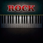 Abstract background with word rock and piano — Stock Vector