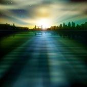 Abstrakt bakgrund med silhuetten av london — Stockvektor