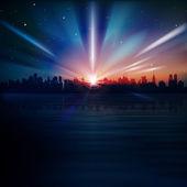Abstracte achtergrond met silhouet van new york — Stockvector
