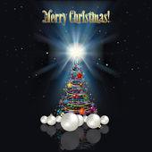 Abstracte kerstmis achtergrond met boom — Stockvector