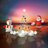 Abstrakte begrüßung mit weihnachtsbaum und der weihnachtsmann — Stockvektor