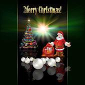 Abstract Christmas greeting with Santa Claus — Stock Vector