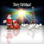 Abstract Christmas greeting with Santa Claus — Vecteur