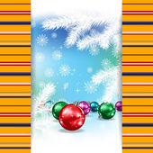 クリスマスのデコレーションや冬の背景に雪 — ストックベクタ