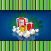 Abstract celebration background with Christmas gifts and decorat — Stock Vector