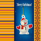 Abstract Christmas background with snowman — Stock Vector