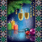 Christmas greeting with champagne and decorations — Stock Vector