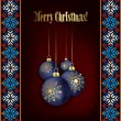 Christmas decorations on black background — Vector de stock #29965855