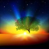 Resumen antecedentes con árbol amanecer y estrellas — Vector de stock