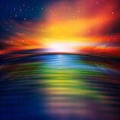 Abstracte aard achtergrond met zee zonsopgang — Stockvector