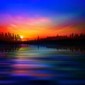 Abstrato com lake forest e nascer do sol — Vetorial Stock
