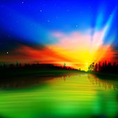 Abstract nature background with sunrise — Vector de stock