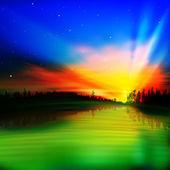 Abstraktní pozadí s východem slunce — Stock vektor