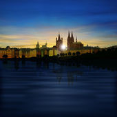 Abstract background with silhouette of koln — Vetorial Stock