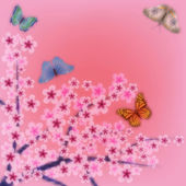 Resumen antecedentes con mariposas y flores — Vector de stock