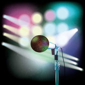 Abstract background with microphone on music stage — Stock Vector