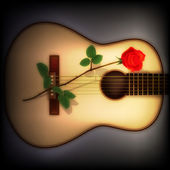 Abstract dark background with rose and guitar — Stock Vector