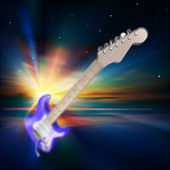 Abstract music background with electric guitar — Stock Vector