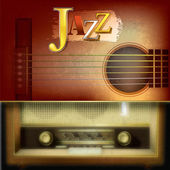 Abstract background with acoustic guitar and retro radio — Stockvector