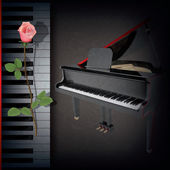 Abstract grunge background with red rose and grand piano on blac — Stock Vector