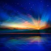 抽象的な青い背景が雲と海の日の出 — ストックベクタ