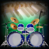 Abstract background with drum kit — Stock Vector