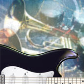 Abstract grunge background with electric guitar and musical inst — Stockvector